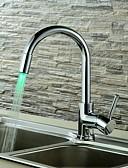 preiswerte Damen Leggings-Waschbecken Wasserhahn - LED Chrom Mittellage Einhand Ein Loch