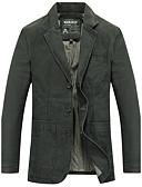 ieftine Blazer & Costume de Bărbați-Bărbați Zilnic Toamnă Regular Blazer, Mată Rever Clasic Manșon Lung Bumbac Negru / Verde Militar / Kaki XXL / XXXL / 4XL