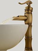 halpa Morsiusneitojen mekot-Perinteinen Pesuallas Vesiputous Keraaminen venttiili Yksi reikä Yksi kahva yksi reikä Antiikkimessinki, Kylpyhuone Sink hana