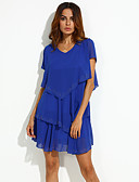 billige Kjoler i plus størrelser-Dame Plusstørrelser Løstsiddende / Skater Kjole - Ensfarvet, Lag-på-lag Over knæet V-hals Blå
