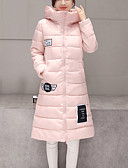 baratos Acessórios de Moda-Mulheres Letra Diário Moda de Rua Longo Duvet, Com Capuz Manga Longa Algodão Inverno