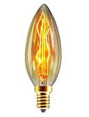 baratos Camisetas Femininas-1pç 40W E14 C35 Branco Quente 2300k Retro / Regulável / Decorativa Incandescente Vintage Edison Light Bulb 220-240V