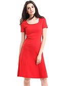 お買い得  レディースドレス-女性用 プラスサイズ ストリートファッション コットン Aライン ドレス ソリッド 膝丈 レッド