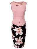 cheap Women's Two Piece Sets-Women's Plus Size Sheath Dress - Floral, Cut Out Print