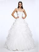 abordables Vestidos de Novia-Corte en A Escote Corazón Capilla Organza Vestidos de novia hechos a medida con Cuentas / En Cruz por LAN TING BRIDE®