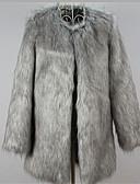 abordables Blazers y Chaquetas de Mujer-Mujer Vintage Trabajo Tallas Grandes Abrigo de Piel Corte Ancho Un Color