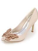 olcso Örömanya ruhák-Női Cipő Szatén Tavasz / Nyár Magasított talpú Esküvői cipők Nulla / Erősített lábujj Nulla Strasszkő / Csokor Kék / Világosbarna /