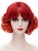 abordables Robe de Patinage-Perruque Synthétique Style Avec Frange Sans bonnet Perruque Rouge Rouge Cheveux Synthétiques Femme Rouge Perruque Court Perruques sans bonnet