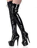povoljno Džemperi i kardigani za djevojčice-Žene Čizme Seksi čizme Stiletto potpetica / Platformske cipele Zakovica Lakirana koža Modne čizme / Klub obuća Ljeto / Jesen / Zima Crn / Sive boje / Crvena / Zabava i večer / Čizme do koljena / EU39