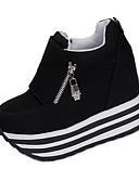cheap Women's Nightwear-Women's Shoes Fabric Spring / Fall Heels Walking Shoes Wedge Heel Zipper Black / Red