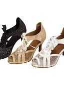 hesapli Nedime Elbiseleri-Kadın's Latin Dans Ayakkabıları / Salsa Ayakkabıları Işıltılı Simler / Yapay Deri Sandaletler / Topuklular Işıltılı Pullar / Bağcıklı