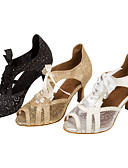 abordables Vestidos de Dama de Honor-Mujer Zapatos de Baile Latino / Zapatos de Salsa Brillantina / Semicuero Sandalia / Tacones Alto Purpurina / Con Cordón Tacón / Interior