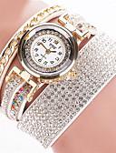 ieftine Ceasuri La Modă-Pentru femei Ceas Brățară Quartz Piele Negru / Alb / Argint Ceas Casual Analog femei Atârnat - Albastru Roz Cristal / Oțel inoxidabil