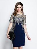 זול שמלות נשים-מעל הברך לגזור, רקמה - שמלה צינור רזה יום יומי בגדי ריקוד נשים