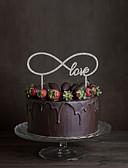 cheap Wedding Dresses-Cake Topper Classic Theme Monogram Acrylic Wedding with Flower 1 Gift Box
