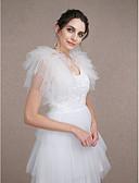 cheap Wedding Wraps-Sleeveless Tulle Wedding Party Evening Wedding  Wraps With Tiered Shrugs