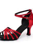 baratos Vestidos para Madrinhas-Mulheres Sapatos de Dança Latina / Dança de Salão Cetim Salto Salto Personalizado Personalizável Sapatos de Dança Azul / Amêndoa / Vermelho