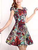 baratos Vestidos Plus Size-Mulheres Tamanhos Grandes Algodão Bainha Vestido - Pregueado Estampado Acima do Joelho