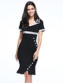 זול מכנסיים וחצאיות-עד הברך קולור בלוק - שמלה צינור בגדי ריקוד נשים