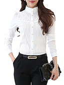 cheap Ice Skating Dresses , Pants & Jackets-Women's Plus Size Shirt - Solid Colored Lace Stand / Spring / Fine Stripe