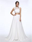 olcso Menyasszonyi ruhák-A-vonalú Ékszer Udvari uszály Csipke selymen Made-to-measure esküvői ruhák val vel Gyöngydíszítés / Rátétek / Gomb által LAN TING BRIDE®