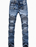 abordables Pantalones y Shorts de Hombre-Hombre Vintage Tallas Grandes Delgado Corte Recto Corte Ancho Vaqueros Pantalones - Un Color, Plisado