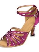 hesapli Gelin Annesi Elbiseleri-Kadın's Latin Dans Ayakkabıları / Salsa Ayakkabıları Saten Sandaletler / Topuklular Taşlı / Toka Kişiye Özel Kişiselleştirilmiş Dans