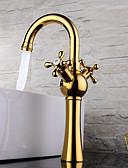 halpa Hatut-Nykyaikainen Moderni Integroitu Laajallle ulottuva Keraaminen venttiili Kaksi kahvaa yksi reikä Ti-PVD, Kylpyhuone Sink hana