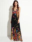 preiswerte Damen Kleider-Damen Übergrössen Boho Swing Kleid - Mehrschichtig, Regenbogen Maxi Gurt