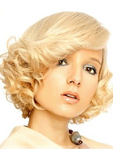 abordables Vestidos de Mujeres-Pelucas sintéticas Ondulado Rubio Con flequillo Pelo sintético Parte lateral Rubio Peluca Mujer Corta Rubio dorado