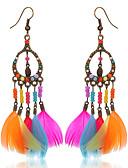 abordables Robes Soirée-Boucle d'Oreille Pendantes Femme Fille Plume dames Bohème Mode Indien Bagues Tendance Bijoux Arc-en-ciel pour Soirée Décontracté