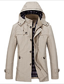 cheap Men's Jackets & Coats-Men's Slim Trench Coat - Solid Colored, Basic Hooded / Long Sleeve
