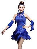 preiswerte Kleidung für Lateinamerikanischen Tanz-Latein-Tanz Kleider / Kurze Hosen Damen Leistung Nylon / Chinlon Quaste / Kristalle / Strass Ärmellos Hoch Kleid / Handschuhe / Latintanz