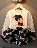 baratos Camisetas de Homem-Para Meninas Conjunto Para Noite Primavera Outono Algodão Manga Longa Desenho Branco Rosa claro