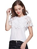 cheap Women's Skirts-Women's Beach Blouse - Solid Colored Lace Boat Neck
