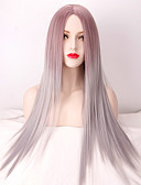 preiswerte Korsetts & Bustiers-Synthetische Perücken Glatt Synthetische Haare Gefärbte Haarspitzen (Ombré Hair) / Mittelscheitel Grau Perücke Damen Lang / Sehr lang Grau