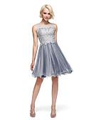 זול שמלות נשף-נשף / צמוד ומתרחב אשליה באורך  הברך טול / מחוך תחרה See Through מסיבת קוקטייל / נשף רקודים שמלה עם חרוזים על ידי TS Couture®
