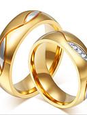olcso Divatórák-Páros Páros gyűrűk - 18 karátos futtatott arany, Rozsdamentes acél, Strassz Személyre szabott, Luxus, Divat Egy méret Fekete / Aranyozott Kompatibilitás Esküvő Parti Napi / Arannyal bevont