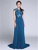 preiswerte Abendkleider-Eng anliegend Illusionsausschnitt Pinsel Schleppe Chiffon / Pailletten Kleid mit Seitlich drapiert / Gerafft durch TS Couture®