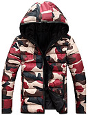 cheap Men's Downs & Parkas-Men's Work Casual / Street chic Down - Camouflage Hooded / Long Sleeve