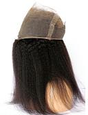 baratos Suporte para Lembrancinhas-CARA 360 frontal Liso / Kinky Liso Parte gratuito Tela Francesa Cabelo Humano Com Baby Hair