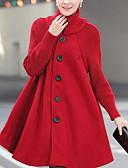رخيصةأون تيشيرتات نسائية-معطف نسائي - عمل أساسي لون سادة, مرتفعة فضفاض قطن