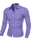 cheap Men's Shirts-Men's Slim Shirt - Plaid Print Classic Collar / Long Sleeve