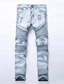 baratos Calças e Shorts Masculinos-Homens Algodão Delgado Reto / Jeans Calças - Sólido / Final de semana