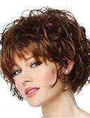 cheap Mother of the Bride Dresses-capless short curly fluffy full side bang synthetic wigs for women brown heat resistant with free hair net