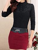 hesapli Kadın Üst Giyim-Kadın's Pamuklu Boğazlı Gömlek Dantel, Solid / Kış