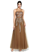 cheap Evening Dresses-A-Line Illusion Neck Floor Length Tulle / Charmeuse Prom / Formal Evening Dress with Beading / Appliques / Ruched by TS Couture®