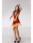 preiswerte Kleidung für Lateinamerikanischen Tanz-Latein-Tanz Kleider Damen Leistung Polyester / Pailletten Quaste / Pailetten Ärmellos Hoch Kleid