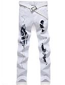cheap Men's Sweaters & Cardigans-Men's Street chic Plus Size Cotton Slim Straight / Jeans Pants Patchwork / Print White / Weekend
