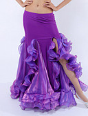 hesapli Göbek Dansı Giysileri-Göbek Dansı Bale Eteği ve Etekler Kadın's Performans Polyester / Splandeks / Włókno mleczne Fırfırlı Doğal Etek